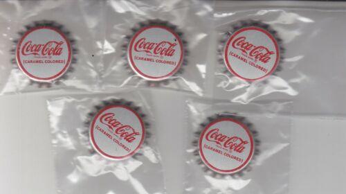 FIVE COCA-COLA  CORK LINED BOTTLE CAPS CARAMEL COLORED