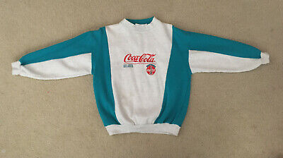 Vintage 1993 Coca-Cola ATLANTA Long Sleeve Pullover Sweatshirt Blue Gray Small