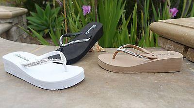 NEW Womens Platforms/Wedge Crystal Rhinestone Bling Flip Flops Sandals--**313H** Wedge Women Flip Flops