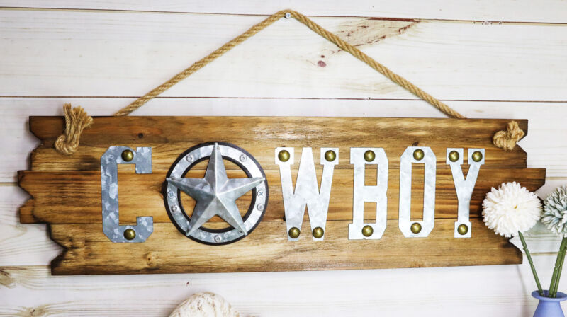 "25""L Rustic Metal Western Star Cowboy Sign On Wooden Plank Wall Or Door Plaque"