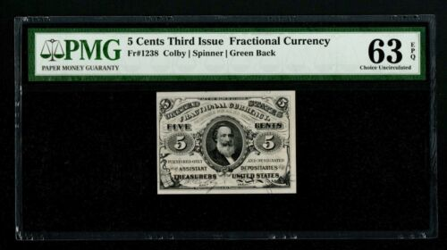 FR-1238 5 CENT 3rd Issue FRACTIONAL CURRENCY  Green Back  PMG  CH UNC 63EPQ