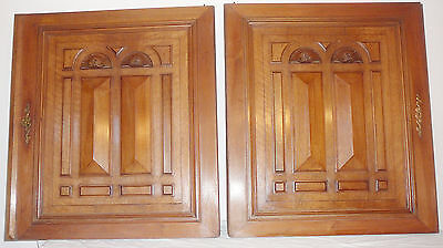 pair of French antique door cabinet panel walnut