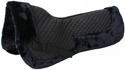 Horse English Quilted Half SADDLE Pad Correction Wither Relief Fur Black 12218BK Wither Relief Pad