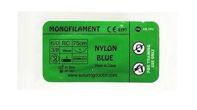 60 Nylon Blue Monofilament Suture 75cm Training Use 18mm Needle Nurse Vet New