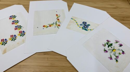 4 Vintage Swiss Embroidery Samples - Spring Flowers