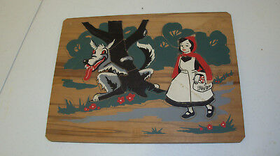 Halloween Little Red Riding Hood Scary (Vintage 1940s LITTLE RED RIDING HOOD Scary BIG BAD WOLF Wooden Puzzle)