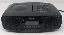 Sony ICF-CD820 Stereo Dual Alarm Clock AM/FM Radio CD Player - Tested Works