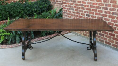Antique Spanish Oak Catalan Mission Farmhouse Dining Table Desk Iron Stretcher