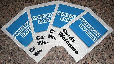 4 Pcs American Express Credit Card Door Or Window Decal Amex Large 2 Sided