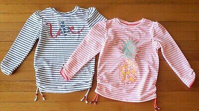 Lot 2 Girls Sunuva Rashguard Shirts 9 10 Long Sleeve Swim Suit Top Stripes