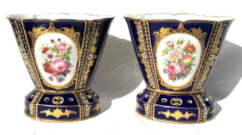 A French Pair of 19th c. Sevres Cobalt Blue Jeweled Vases