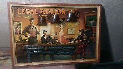Legal Action Frame Billiard Pub/Game Room Wood frame 3D Art wood.