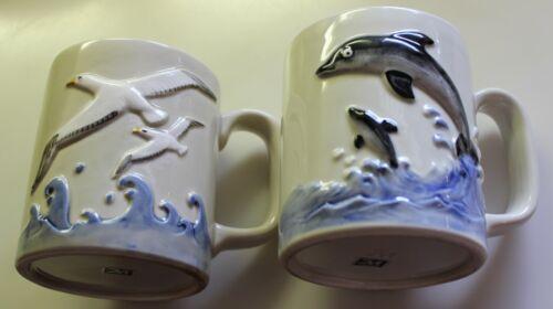 "2 Vintage Coffee Mugs Ocean Scenes 1 w/ Dolphins 1 w/ Seagulls Marked ""M"" Japan"