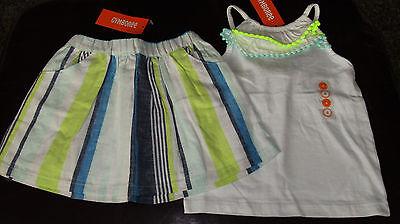 Gymboree Blue Safari pom pom ruffle top & striped skirt NWT 4 4T