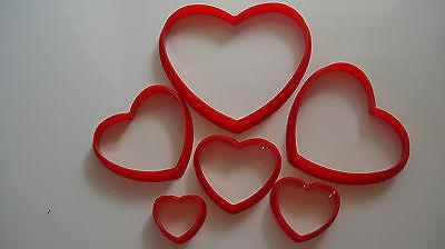 Herz Form 6-tlg.Ausstecher Set Tortendeko Fondant Marzipan Kuchen Torte Deko (Herz Ausstecher Set)
