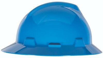 Msa V Gard Full Brim Hard Hat With Fas Trac Ratchet Suspension  Blue