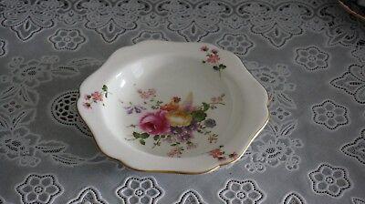 VINTAGE Royal Crown Derby Porcelain Dish Flowers Pink Gold Trim