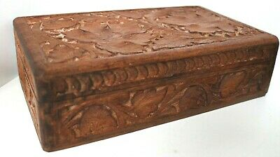 VINTAGELARGE  WOODEN BOX / HAND CARVED JEWELLERY TRINKET ANTIQUE CHEST / 36