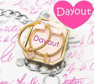 JUICY-COUTURE-Pave-Crystal-Rhinestone-Gold-Large-Hoop-Earrings-Dangle-Drop-Charm