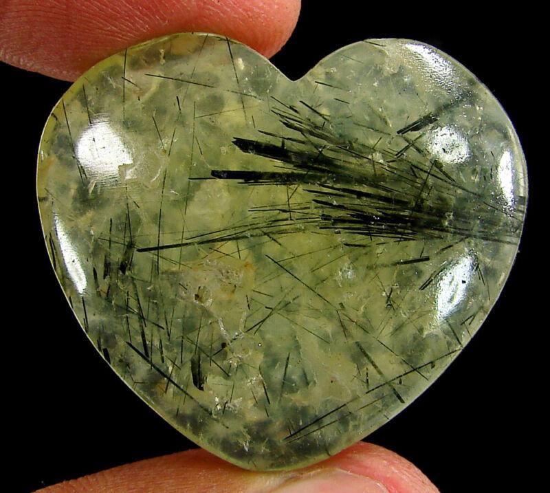 78.55 Ct Natural Green Prehnite Loose Gemstone Heart Cabochon Wire Wrap - 44902
