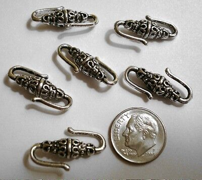 Six - 6 - jewelry clasps silver plated bali style hook clasp findings fpc133 Bali Style Hook Clasp