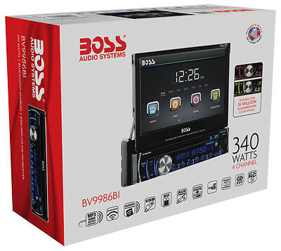 "New Boss BV9986BI 1-Din In-Dash DVD Player w/ Bluetooth 7"" LCD Touchscreen Low $"