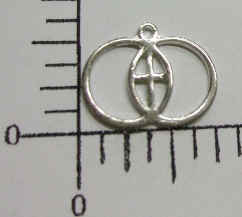 36848      12 Pc Sterling Silver Plated Rings W/Cross Jewelry Finding Charm SALE