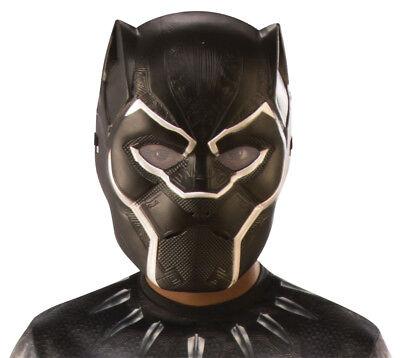 Halloween Face Masks For Kids (Child Black Panther Mask Plastic 1/2 Kids One Size Marvel Legend Face For)
