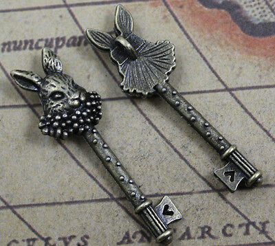 10pcs Retro style lovely rabbit key alloy charms bronze Pendants 51x15mm
