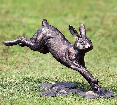 Rabbit Running Garden Statue Metal Bunny Sculpture Bronze Finish Outdoor Decor