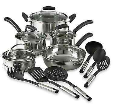 14 Piece Pots And Pans Stainless Steel Cooking Kitchen Cookware Set Utensils