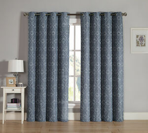 Slate Gray Grommet Window Curtain Panel Two Piece Set Embroidered Design Ebay