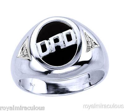 (Mens DAD Ring Diamond Onyx 14K Yellow or White Gold)