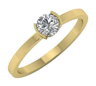 Semi Bezel Solitaire Setting - Solitaire Engagement Ring Semi Bezel Set SI1 H 0.56 Ct Round Diamond 14K Gold