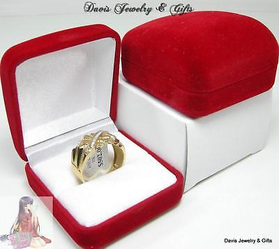New Red Velvet Jewelry Store Style Ring Gift Box Mens or Large Ladies