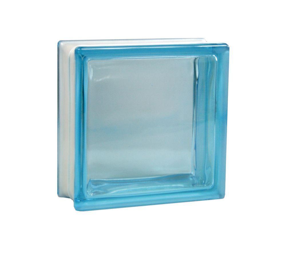 5 Stück Fuchs Glasbausteine Glassteine Vollsicht Azur (Blau) 19x19x8cm