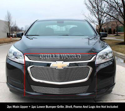 Fits 2014-2015 Chevy Malibu Upper and Lower Billet Grille Combo