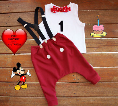Cake smash outfit boy, Mickey Mouse, 1st birthday outfit,Handmade size - Smash Cake Size