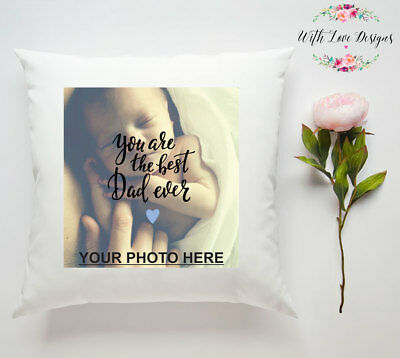 BEST DAD DADDY FATHER PHOTO PERSONALISED CUSTOM PILLOW CUSHION PRESENT (Best Dad Pillows)