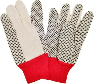 12 Pairs Of Pvc Dotted Safety Gloves Black Dot Red Knit Wrist Size L