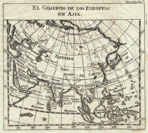 1754 Gabriel Ramirez Map of Asia