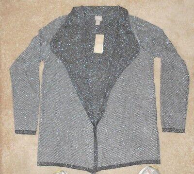 Chicos Apparel Geena Glimmer Charcoal Cardigan Sweater 1 M  2 L  Or 3 Xl  Nwt