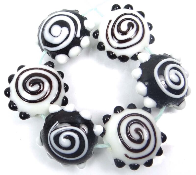 Lampwork Handmade Glass Black White Spiral Lentil Beads 20mm