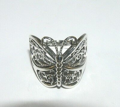 Filigree Butterfly Wrap Around Ring 925 Sterling Silver Sizes 6, 6.5, 6.75