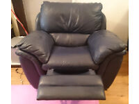 Leather recliner navy blue .