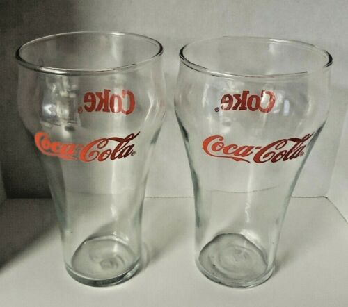 Vintage Coca-Cola Coke Red Ink Glasses Lot of 2 Pair New Old Stock