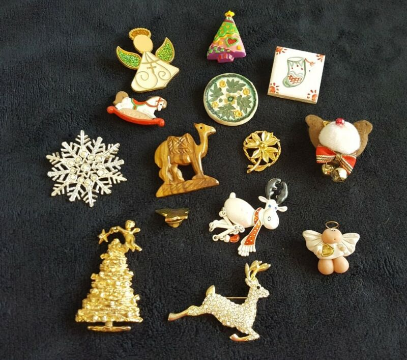 VGUC~14pc VTG to NOW~ CHRISTMAS PIN/BROOCH LOT~ReSell Wear Craft Gift~Free Ship