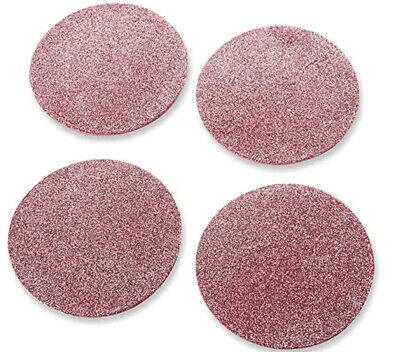 KATE ASPEN Glimmer Pink Round Frosted Shimmer Finish Foam Party Coaster Set of 4