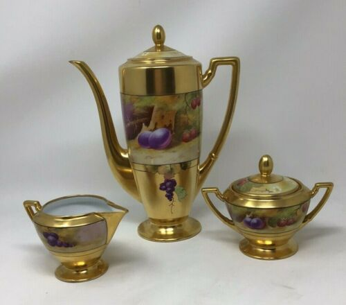 Antique Artist Signed Hand Painted W. Pickard - Gold Encrusted Chocolate Pot Set