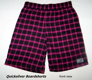 Vintage Quicksilver Boardshorts, pink and black checks,shorts XL
